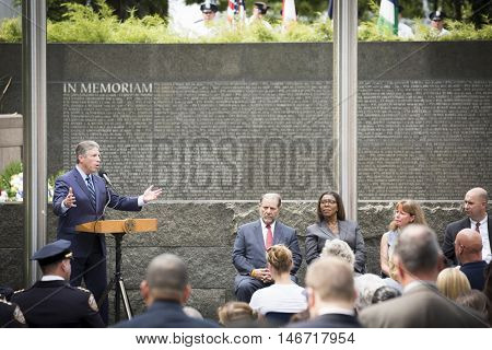NEW YORK - SEPT 9 2016: New York PBA President Pat Lynch speaks at the NYPD Emerald Society Pipe and Drums 9/11 Memorial Commemoration Service marking the 15th anniversary of the terror attacks.