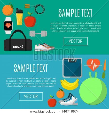 Fitness and healthy lifestyle horizontal banners, vector illustration set in flat style. Sports equipments and nutrition supplements on color background. Outdoors activity. Workout and gymnastics.