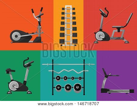 Vector illustration of gym sports equipment icons set. Treadmill, elliptical cross trainer, exercise bikes, stands with dumbbells and barbells on color background. Sport lifestyle. Bodybuilding signs