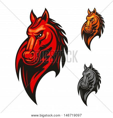 Red flaming horse head mascot with mad and powerful stallion horse. Sporting competition badge or sport club symbol design