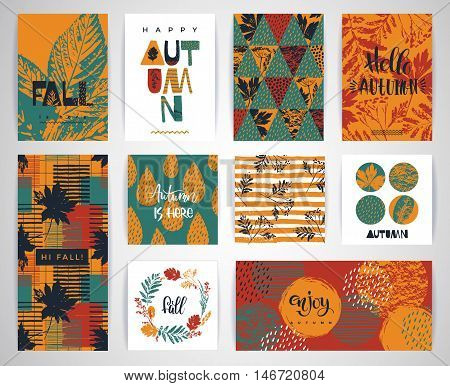 Set of artistic creative autumn cards. Hand Drawn textures and brush lettering. Design for poster card invitation placard brochure flyer. Vector templates