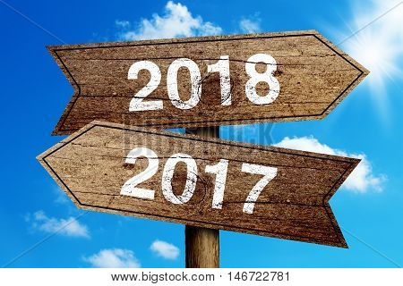 Year 2017 And 2018 Road Sign