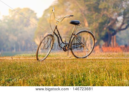 Landscape picture Vintage Bicycle with Summer grass field at sunset ; vintage filter style Classic bicycle