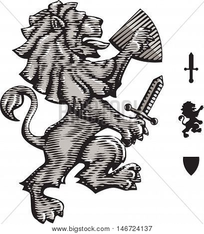 Heraldic lion shield and sword. Vector illustration isolated grouped transparent background.