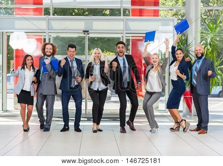 Business People Group Successful Excited Team In Modern Office, Businesspeople Happy Smile With Raised Hands Fists Arms Up