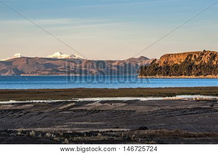 Lake Titicaca and Andes from the bolivian side