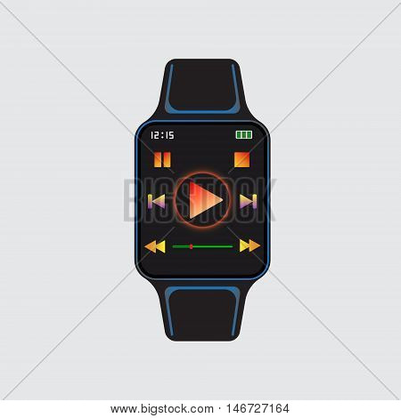 Black smart watch with play icon at display. Smart watch isolated logo. Smart watch vector sign. Smart watch vector eps10 symbol.