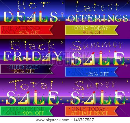 Cards with texts for retail. Night beach. Hot deals. Latest offerings. Summer sale. Black friday. White houses on the coastline. Stars in the sky. Banners for custom text. Vector illustration