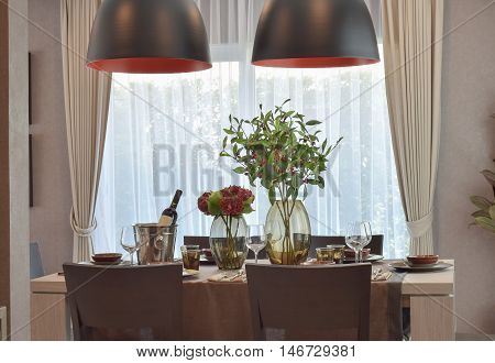 Modern classic dining set in luxury dining room
