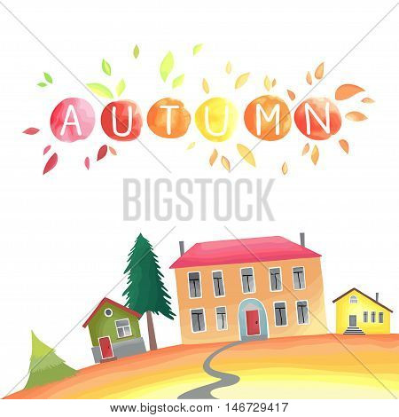 Autumn countryside. Watercolor imitation in vector. Each object is separately, easy to edit.