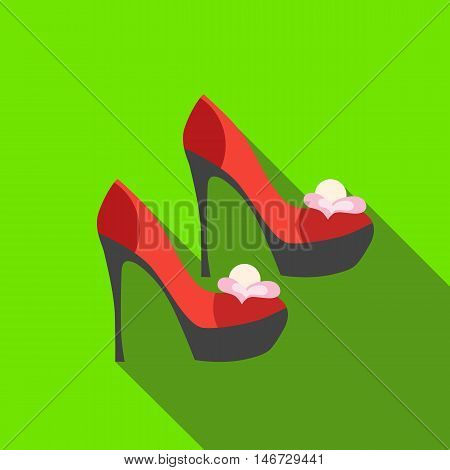 Red high heel women shoes icon in flat style isolated with long shadow vector illustration
