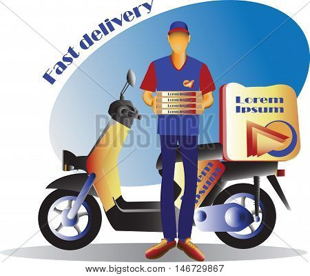 Courier and Scooter. Fast delivery. Scooter, Motorcycle. Service, order. Worldwide Shipping, Fast and Free Transport. Food delivery design, vector illustration.
