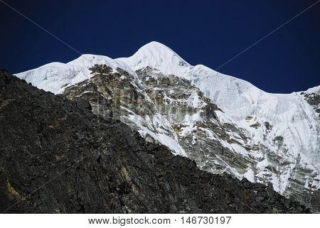 Snow capped Himalayan peak in Sagarmatha National Park ( Everest Region ) Nepal
