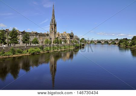 SCOTLAND Perth -- 2014 -- Cityscape of Perth Scotland with the River Tay -- Picture by Jonathan Mitchell/Atlas Photo Archive
