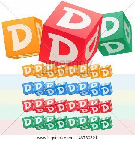 Vector set of children cube alphabet. Optional colorful graphic styles. Letter D