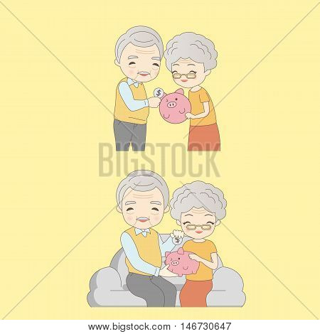 cartoon old couple with pink piggy and smile to you