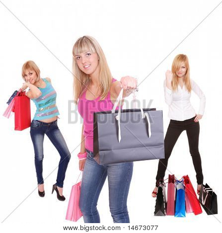 small group shopping people Isolated over white background