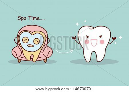 Happy cartoon tooth with facial mask great for tooth whiten concept
