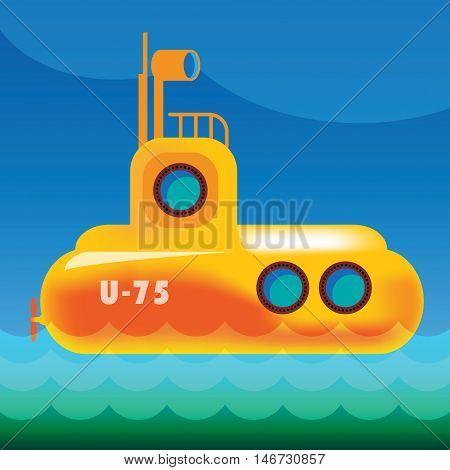 Yellow submarine in the sea, vector illustration