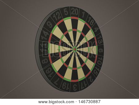 Stylized darts board vector illustration in perspective