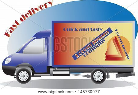 Car Fast delivery. Service, order. Worldwide Shipping, Fast and Free Transport. Food delivery design, vector illustration.