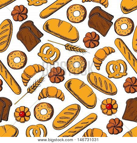 Bakery and pastry products background. Seamless pattern of sweet bun, french croissant and baguette, glazed donut, jelly filled cookie, pretzel, long loaf and dark rye bread