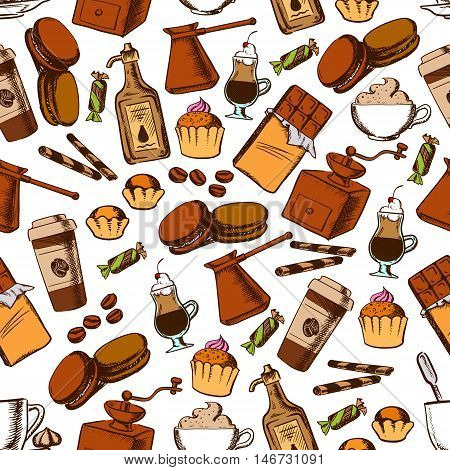 Coffee beverages and chocolate sweets seamless pattern of cupcake, chocolate, cappuccino and irish cream cocktail, candy, macaron and cream liqueur, coffee pot, grinder and beans