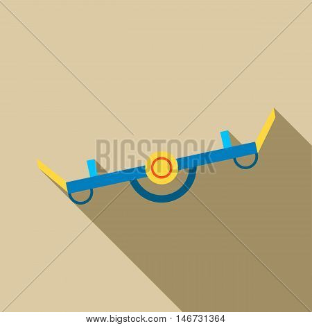 Playground seesaw icon in flat style isolated with long shadow vector illustration