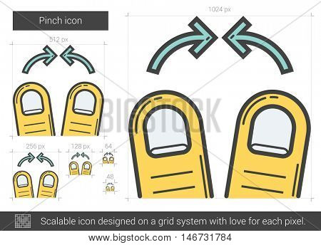 Pinch vector line icon isolated on white background. Pinch line icon for infographic, website or app. Scalable icon designed on a grid system.