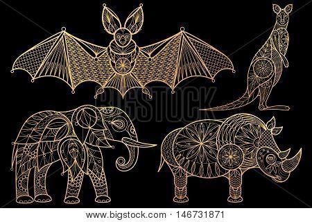 Animals. Elephant rhinoceros kangaroo bat. Set of vector stylized image. Gold foil print on black background.