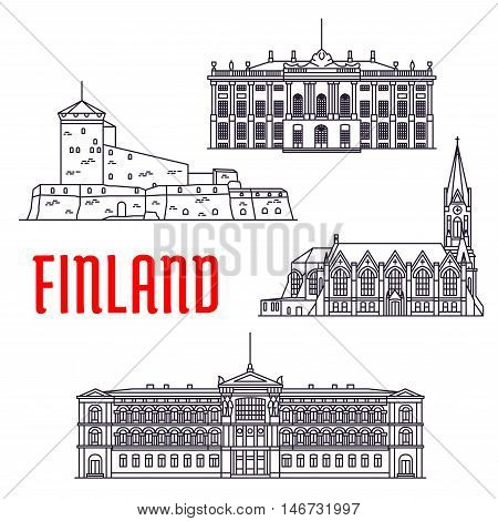Travel landmarks of Finland and Denmark thin line icon with sea fortress Sveaborg, Lutheran Church of Kotka, art museum Ateneum and palace of danish royal family Amalienborg