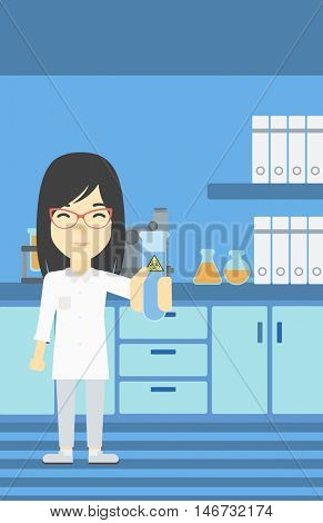 An asian female scientist holding a test tube with biohazard sign. Scientist examining a test tube in a chemical laboratory. Vector flat design illustration. Vertical layout.
