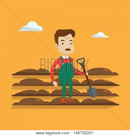An adult farmer standing with a shovel on the background of plowed field. Smiling man holding agricultural tool and working in field. A man plowing a field. Vector flat design illustration. Square