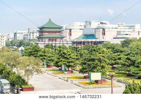 Xian bell tower (chonglou) in Xian ancient city of China
