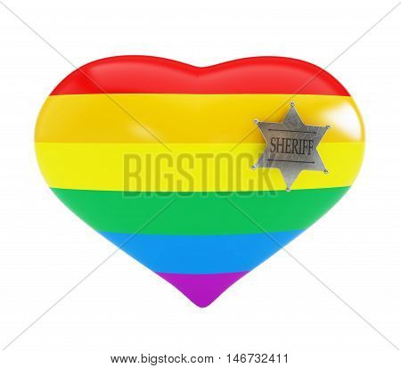 homosexual police on white background. 3d Illustrations