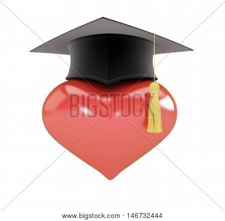 Heart sign graduation hat  3d on white background. 3d Illustrations