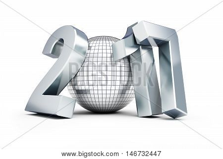 New Year 2017 Disco Ball on white background. 3d Illustrations