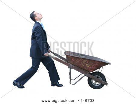 Business Man With Wheelbarrow