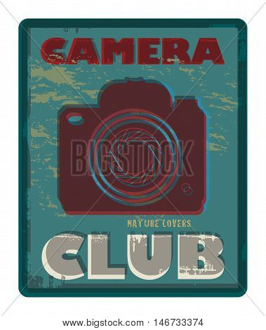 Camera Club abstract poster or sign, vector illustration