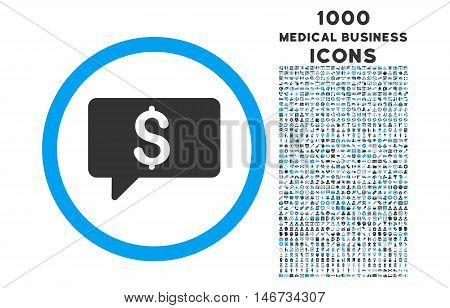 Money Message rounded glyph bicolor icon with 1000 medical business icons. Set style is flat pictograms, blue and gray colors, white background.