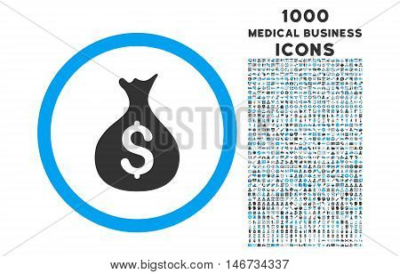 Money Sack rounded glyph bicolor icon with 1000 medical business icons. Set style is flat pictograms, blue and gray colors, white background.