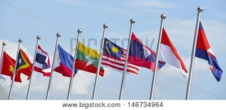 View of national flags of Southeast Asia countries; Brunei Darussalam Myanmar / Burma Cambodia Indonesia Laos Malaysia Philippines Singapore Thailand Vietnam East Timor.