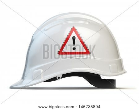 White hard hat, safety helmet isolated on white. 3d illustration
