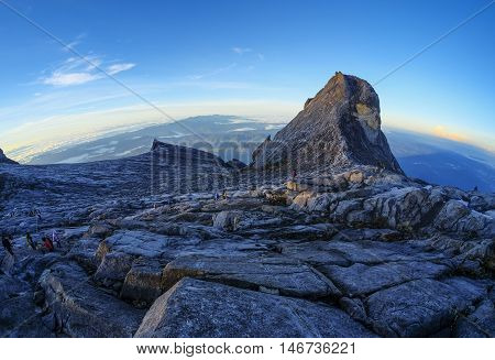 The beauty of St. John Peak (right) and South Peak (left) of Mount Kinabalu Sabah Malaysia. Mount Kinabalu or Gunung Kinabalu is the 20th most prominent mountain in the world by topographic prominence.