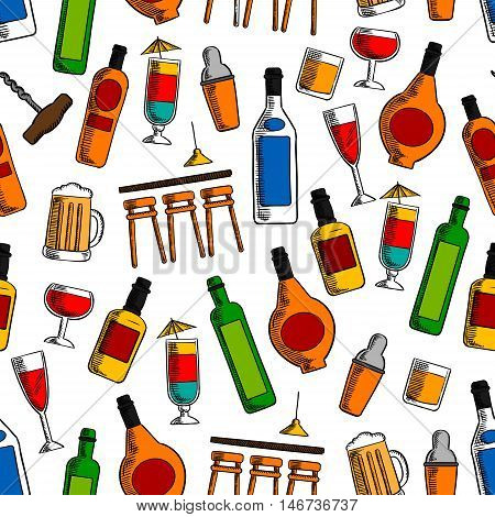 Bar cocktails and alcoholic drinks seamless pattern with wine, beer, whisky, vodka, tequila and liquor bottles and glasses with shaker and bar counter on white background
