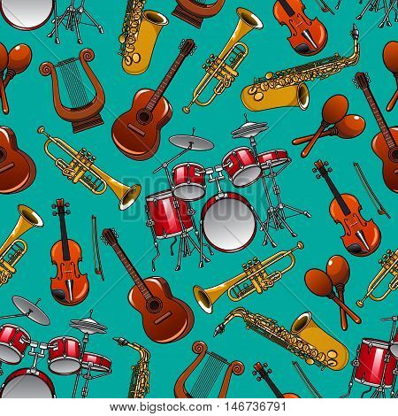 Musical instruments seamless pattern on turquoise background with drum set, guitar, trumpet, saxophone, violin, lyre and maracas. Classical music concert or arts theme design