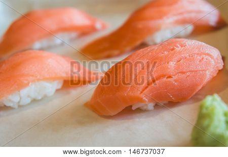 Fresh japanese salmon sushi in plate, japan food.