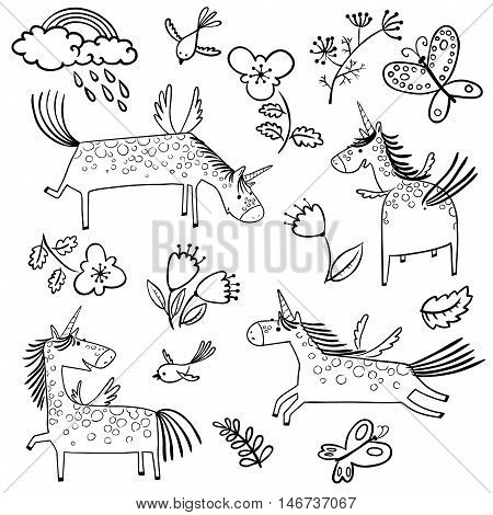 Set with cute doodle line art magic mythology unicorns in children's style. Collection with rainbow clouds with rain flowers tulips leaves birds and butterflies isolated on white background