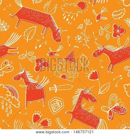 Vector doodle seamless pattern with magic unicorns. Background with rainbow clouds with rain drops flowers and tulips butterfly birds and dandelion's seeds medieval castle leaves sword and shield