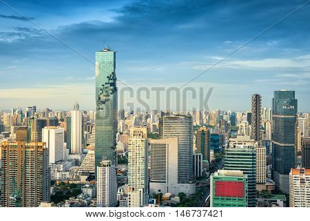 Business downtown of Bangkok city Bangkok city of Thailand on top view.